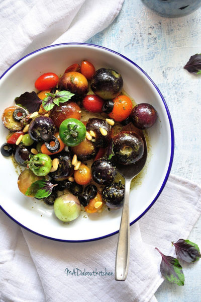 Tomato Salad with Pesto Dressing