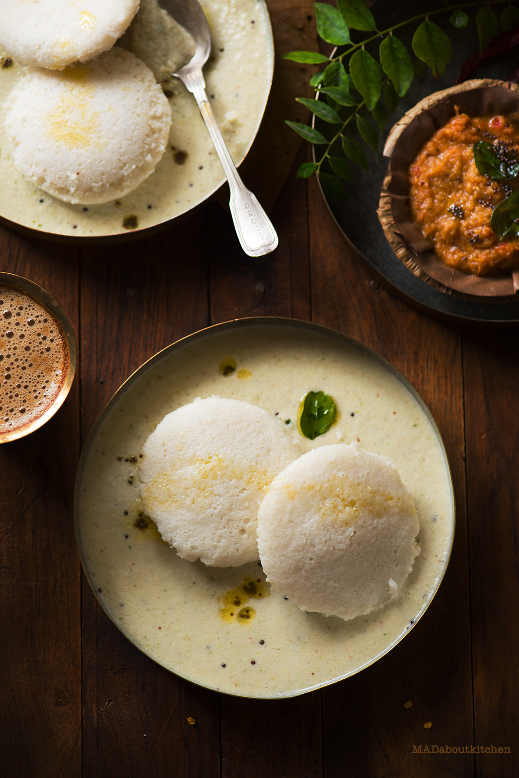 Idli is one of the most famous and most common breakfast dishes in India , specially in South India. Idly is a soft rice dumplings which are steamed and considered very healthy.