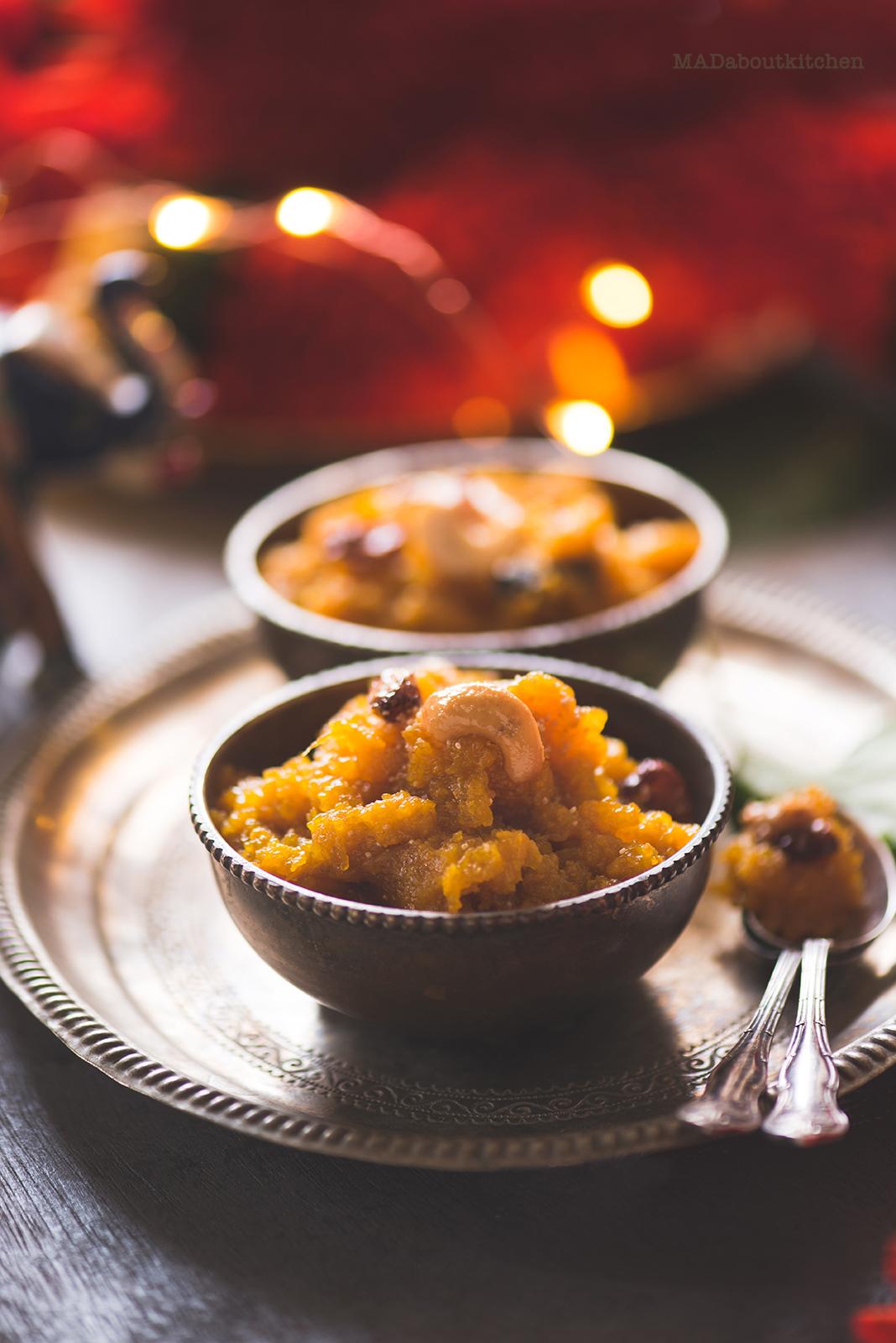 Sweet Pumpkin Halwa, is an Indian dessert which is rich with mild flavours. Sweet Pumpkin Halwa is a nice twist to the Gajar ka Halwa or Damrot ( Ash Gourd Halwa).