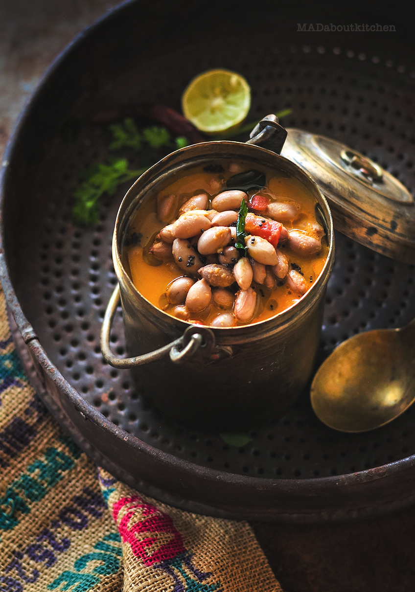 Peanut Sambar is a spicy, creamy curry made during winter season. Winter is the time for fresh groundnuts and this sambar is one of my favourite things to make.