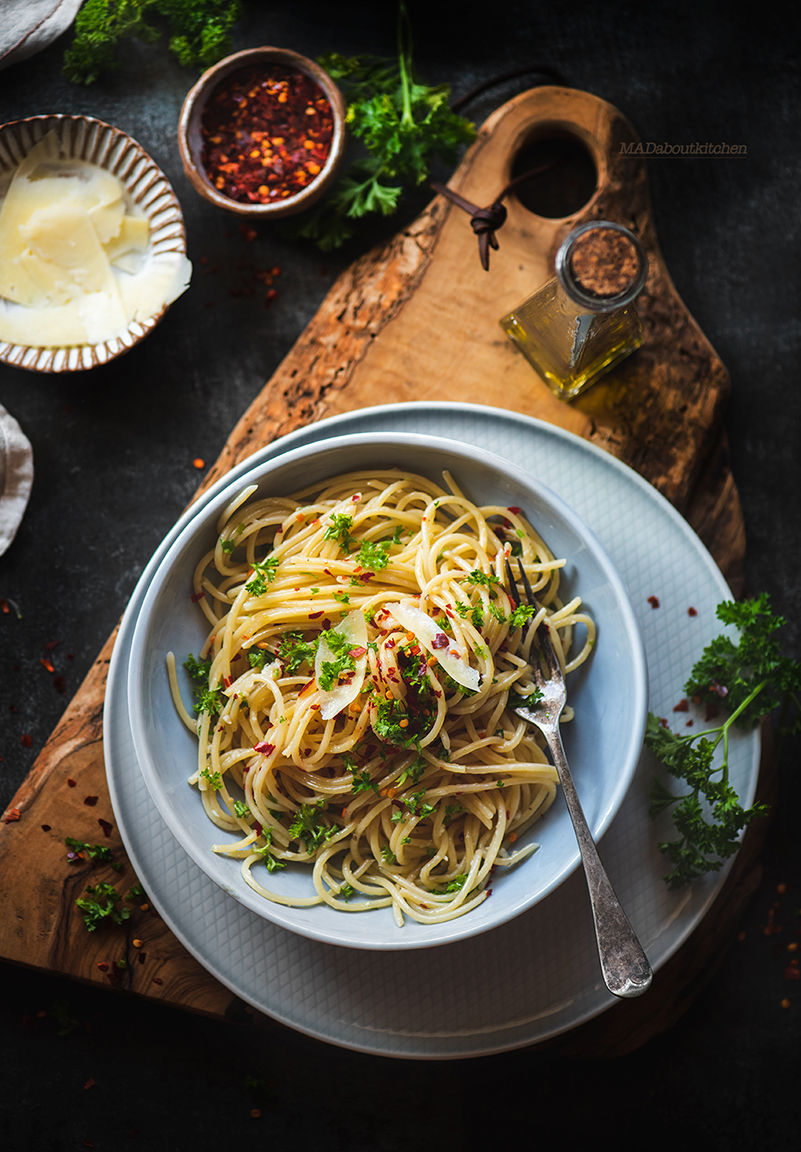 Aglio e Olio is one of the most famous, quick & basic Italian pasta recipes. Aglio e Olio means Garlic & Oil which are the main ingredients of this dish.