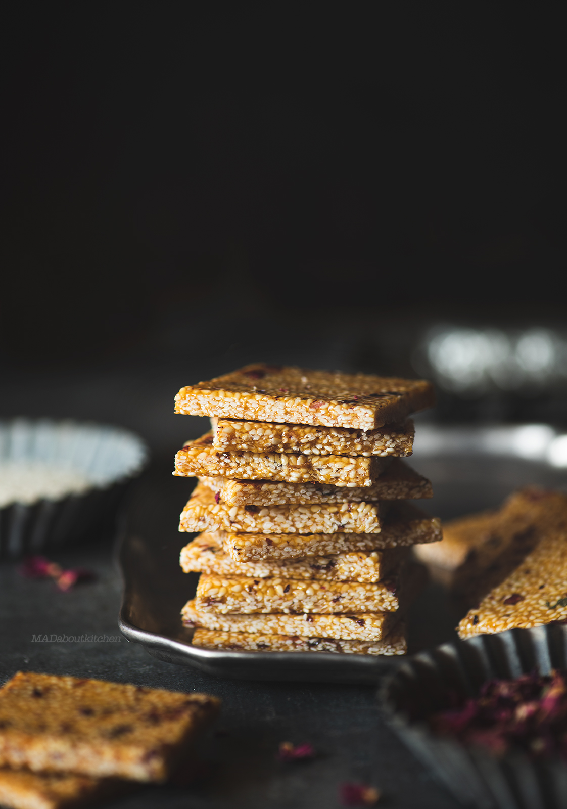 Til Gud Chikki are crisp thin wafer made using jaggery and sesame seeds is a speciality during winter months and is healthy due to the qualities of Sesame.