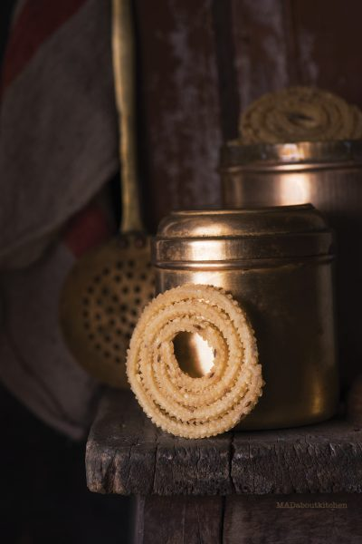Chakli is a deep fried Indian savoury snack made of rice flour which is crisp and melts in the mouth and is made during Ganesha Chathurthi & other festivals
