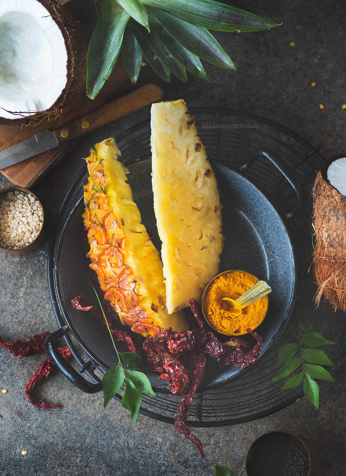 Anaanaas gojju, Pineapple curry is a speciality from Karnataka made using Pineapple and is a spicy, sweet curry had best with steamed rice.
