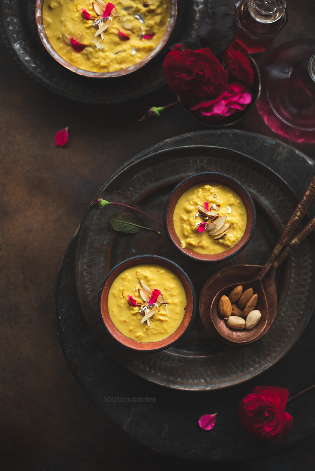 Ingredients  2 ltrs - whole fat milk 1/4 cup - Sugar 1 tsp - Saffron Almond flakes and Dry Rose Petals