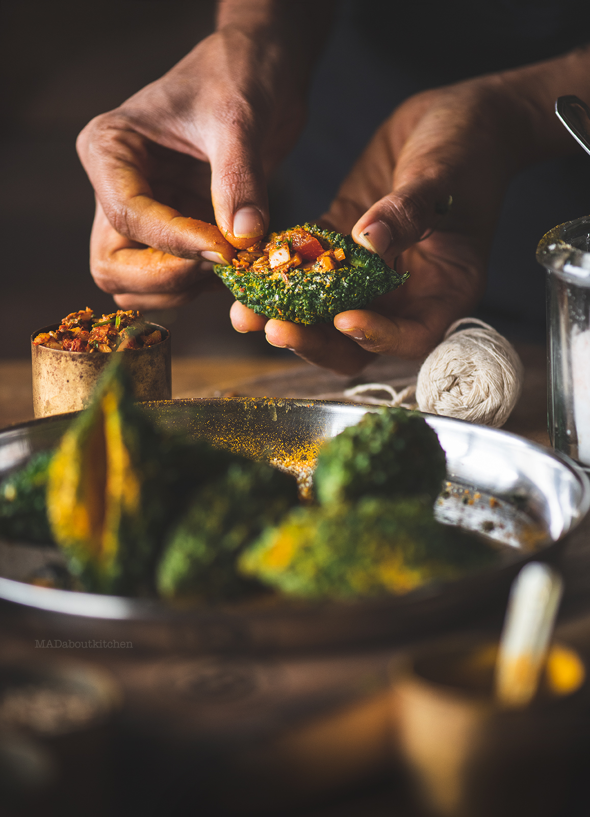 Bharela karela is stuffed bitter guard which is a tasty accompaniment to Dal,roti or rice. It is a deep fried, spicy, punjabi dish made using small gourds