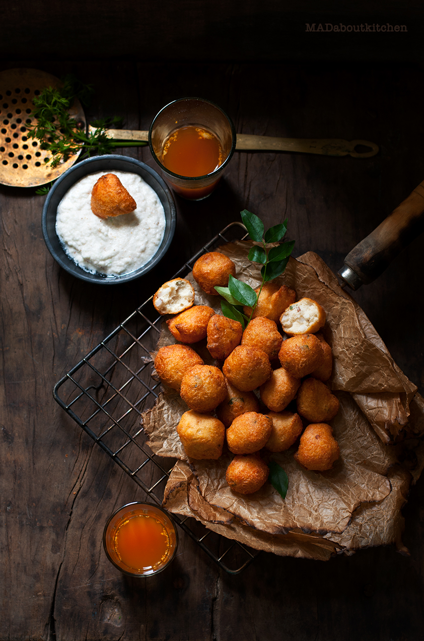 Mysore Bonda, are these small deep-fried dumplings which are crispy outside and fluffy and soft inside and is usually served with coconut chutney.