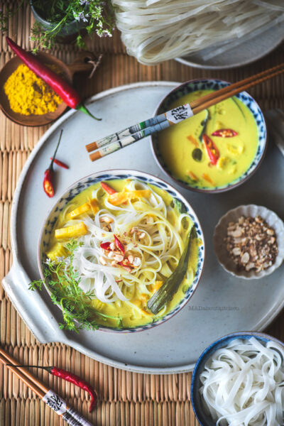 Rice noodle soup is a light soup made using various vegetables and coconut milk. With the flavours of South east Asia this is makes for light meal.