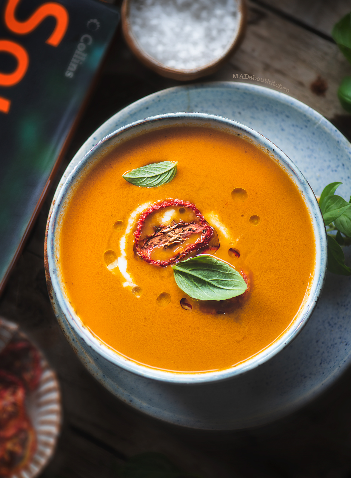 Roasted Tomato Turmeric soup literally takes tossing ingredients on a pan and roasting it in the oven, blending and serving & it is as simple as that.