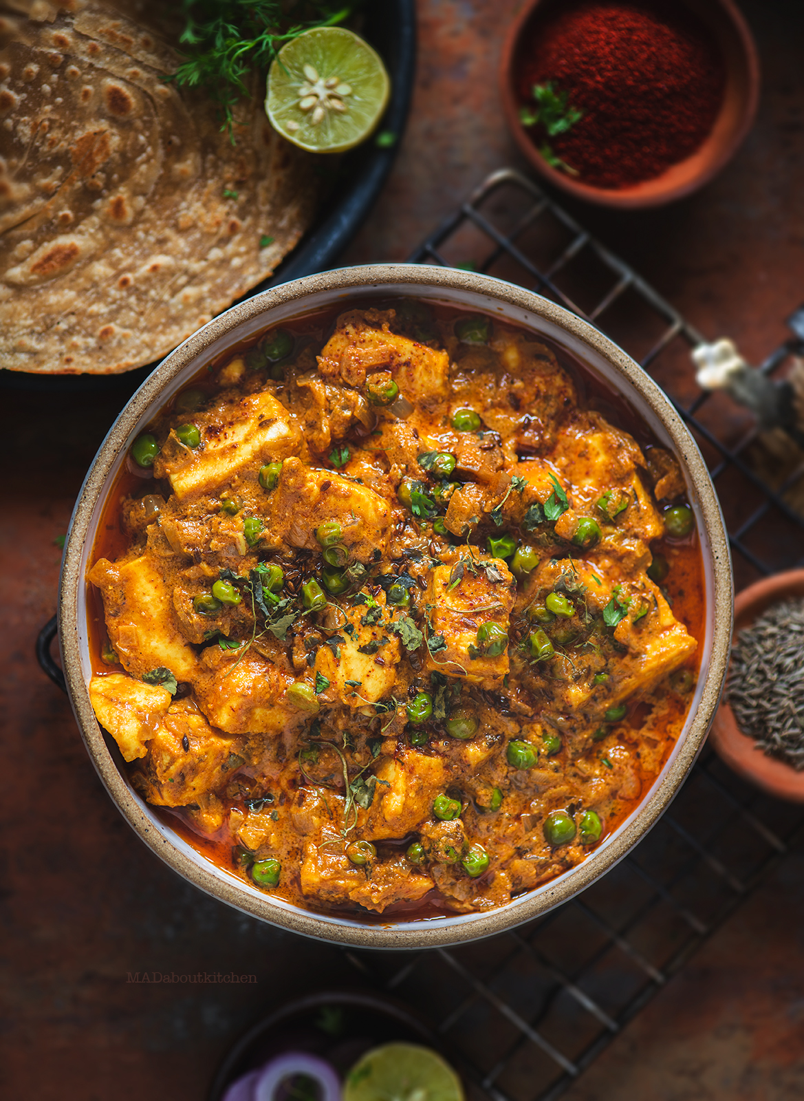 Paneer matar is cottage cheese and peas cooked in a tomato and onion gravy and flavoured with loads of spices and is one of the most common dishes in India.