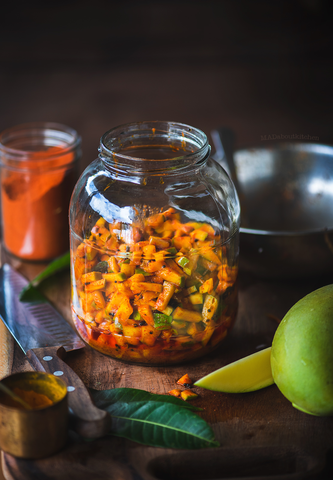 Instant Mango pickle made using Tothapuri mango takes 5 mins to prepare and is a perfect balance of sweet,spicy and sour.