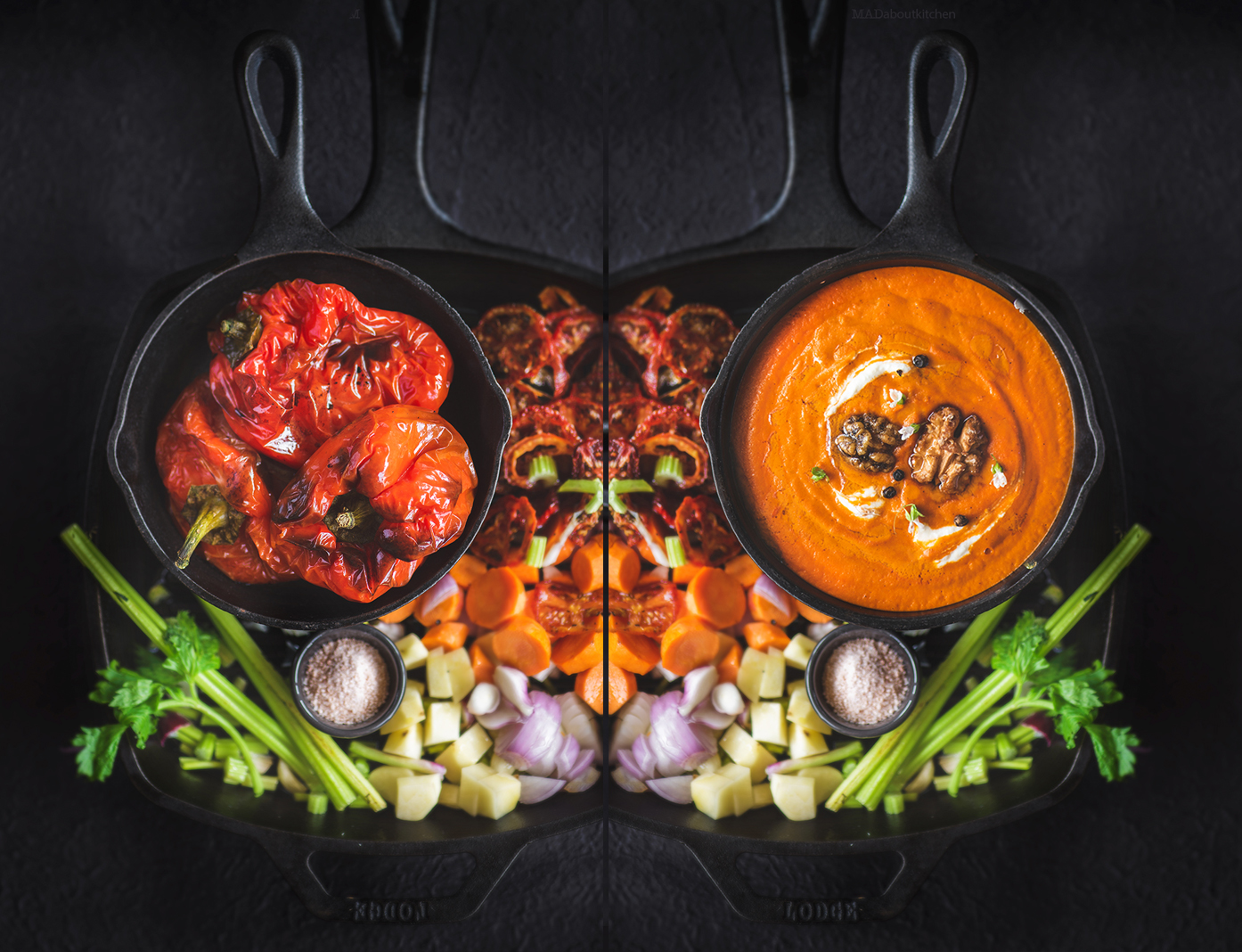 Roasted bell pepper soup made using roasted red pepper has an intense smoky flavour and is creamy and absolutely flavourful.