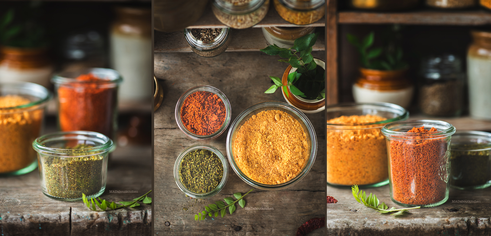 Andhra Style chutney powder or more famously known as Gunpowder is a spicy, garlic powder made using roasted lentils and powdered coarsely.