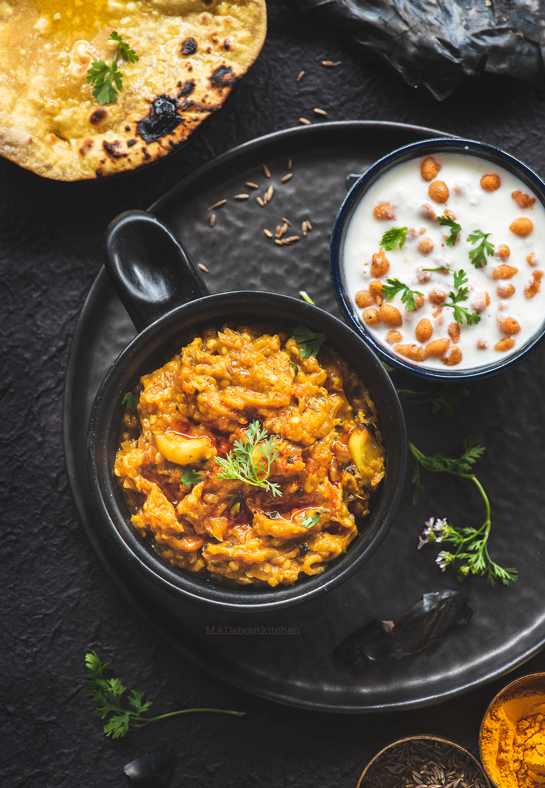 Baingan bharta is a popular Indian curry made by roasting the eggplant . The flesh of the smoky eggplant is mashed and then cooked with spices.