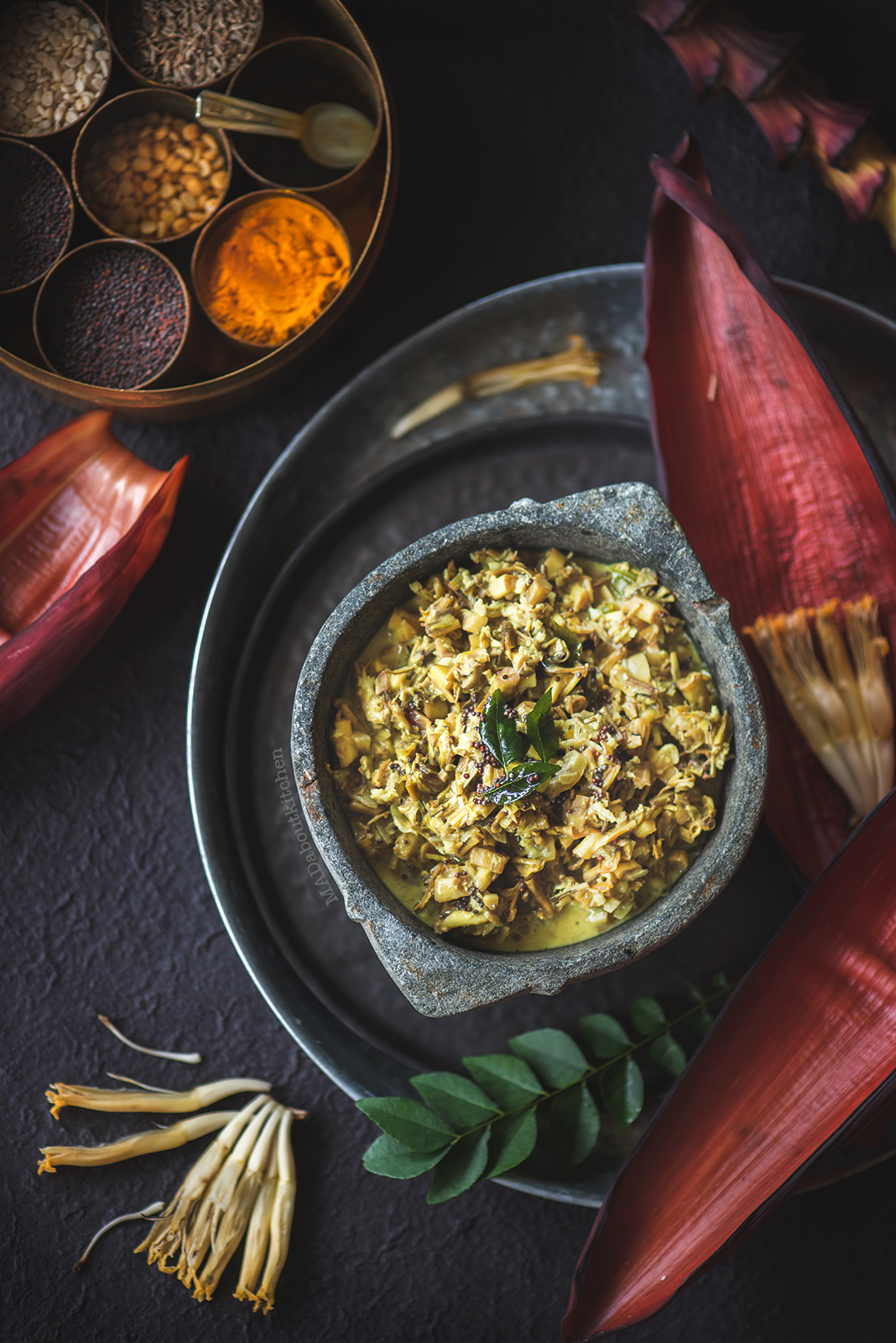 Baale hoovu palya, the banana heart curry is a curry made using banana heart (banana blossom).This curry is made using coconut milk which makes it creamy.