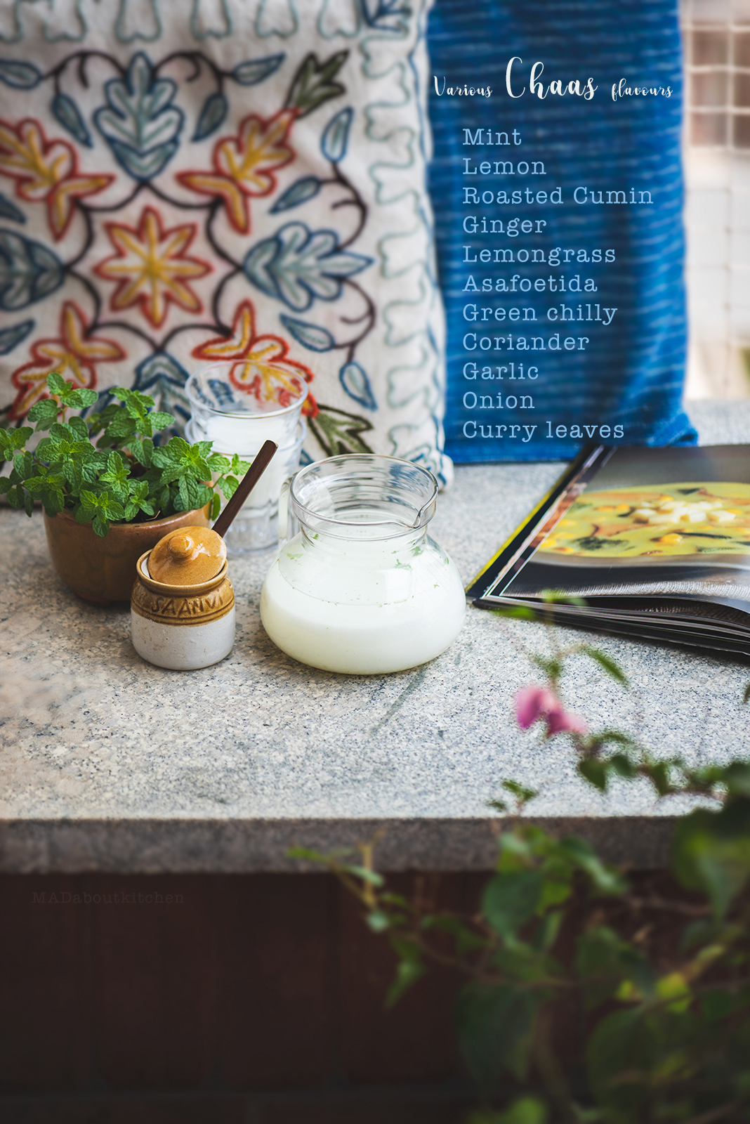 Chaas, is one of the most soothing, cool drink that can be made at home. I use different flavours everyday and hence never can have enough of it. Majjige is also commonly known as Buttermilk in India.